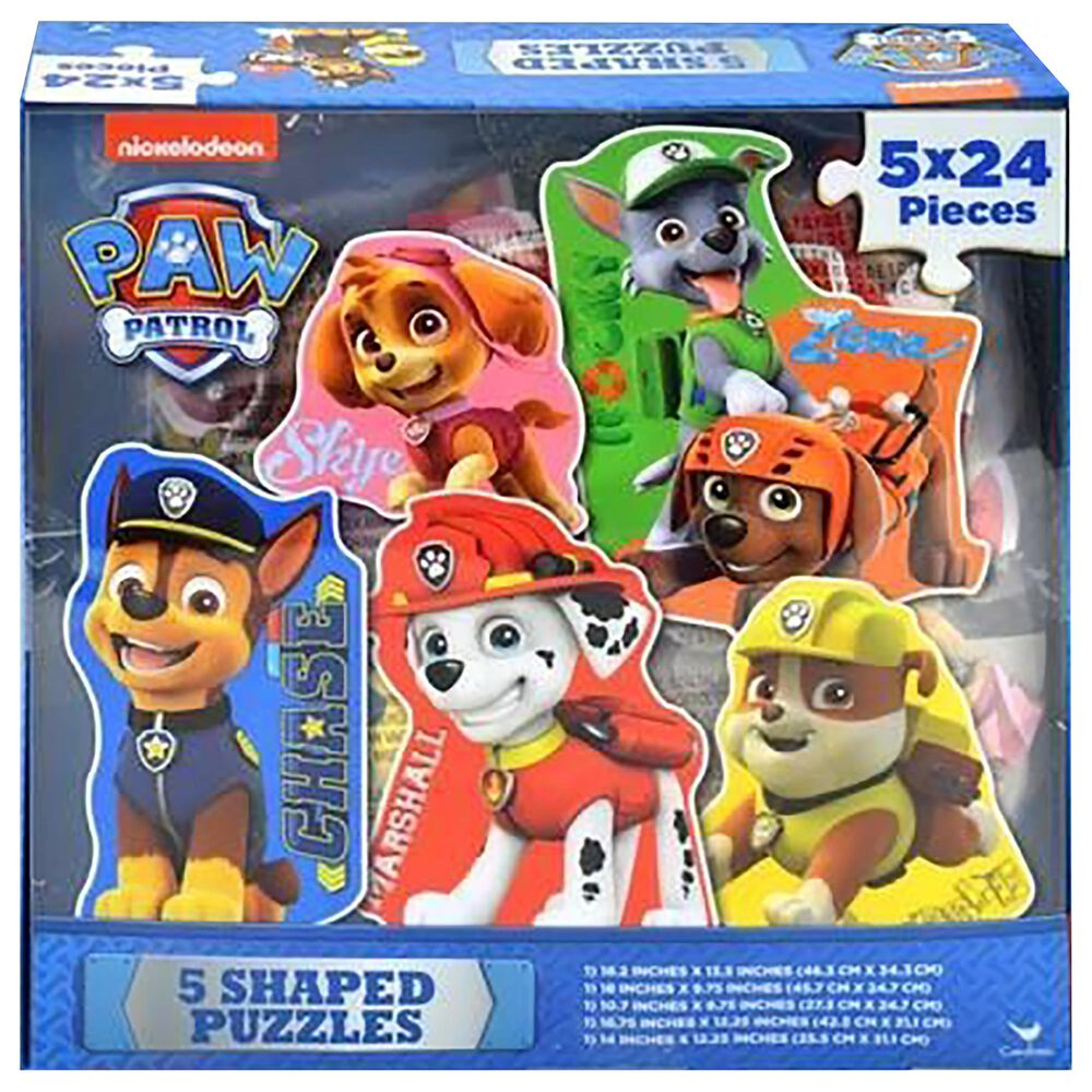 Upd Inc. 120 Piece Paw Patrol 5 Shaped Puzzles in Acetate Box, , large
