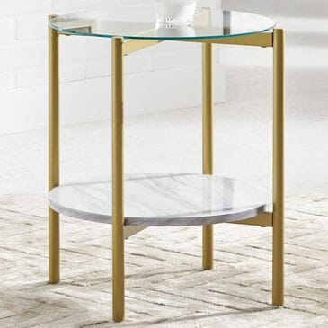 Signature Design by Ashley Wynora Round End Table in White and Gold, , large