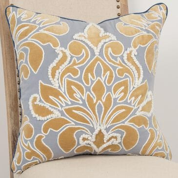 """Rizzy Home Damask 20"""" Down Filled Pillow in Gold/ Gray, , large"""