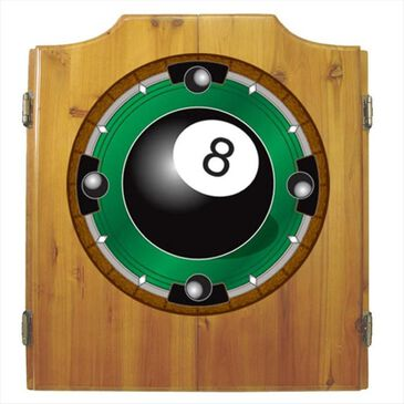 Timberlake 8-Ball Dart Cabinet with Darts and Board, , large