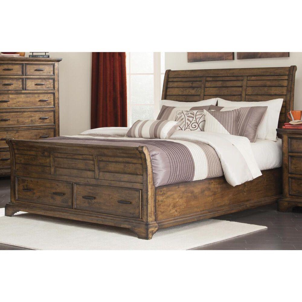Pacific Landing Elk Grove California King Sleigh Bed in Vintage Bourbon, , large