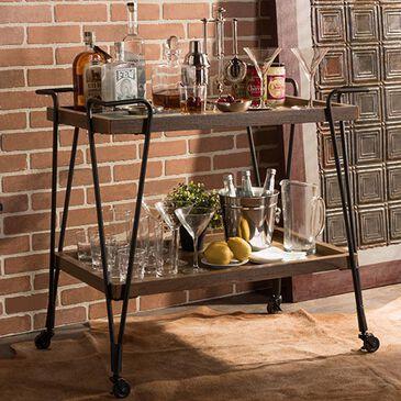 Baxton Studio Alera Ash Mobile Serving Bar Cart in Rustic Antique Black, , large