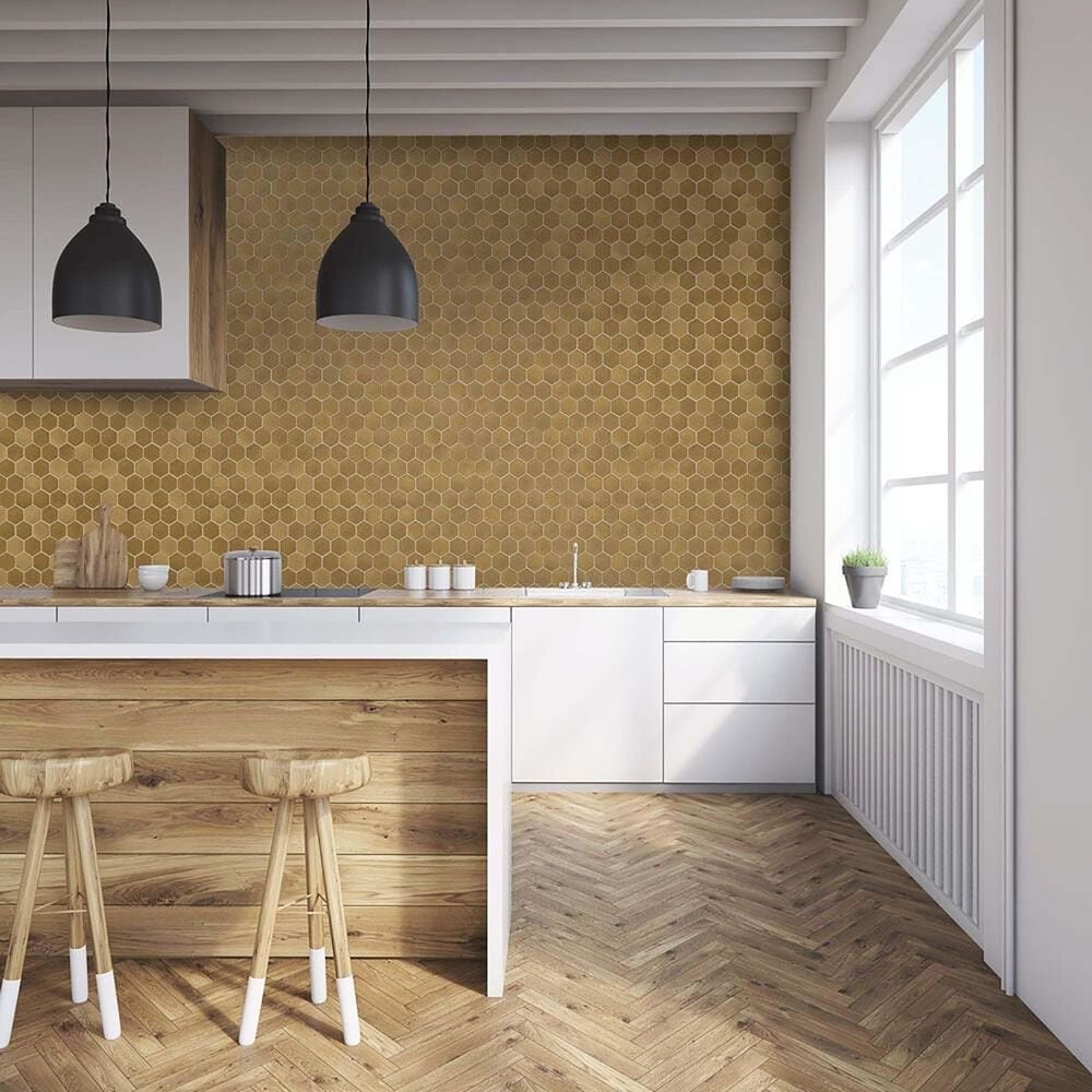 Tempaper Hexagon Tile Brushed Gold Peel and Stick Wallpaper, , large