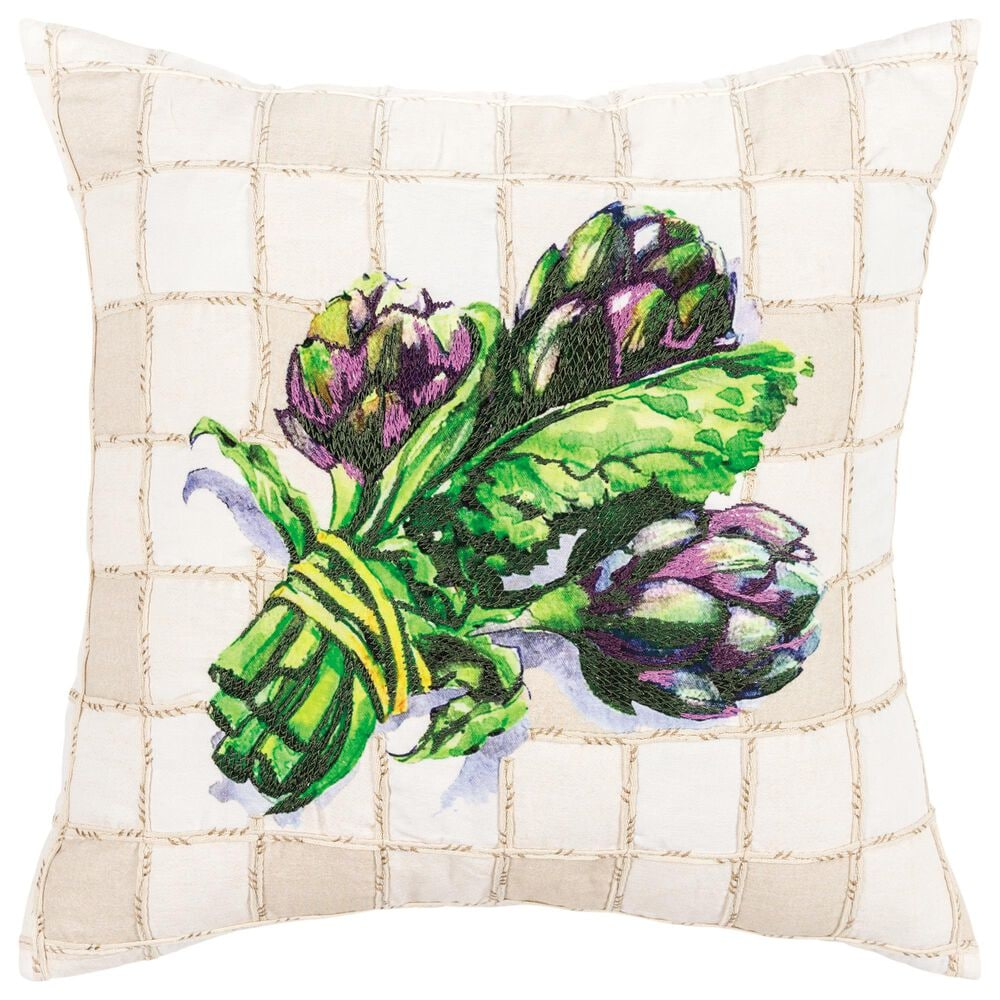 """Rizzy Home Floral 20"""" Pillow in Multi, , large"""
