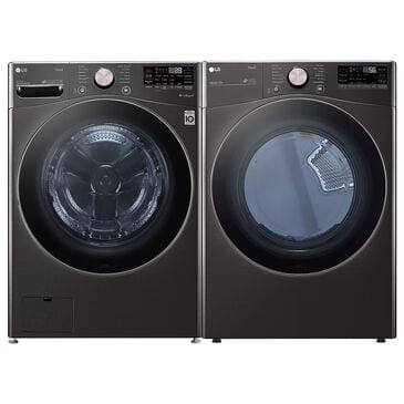 LG 4.5 Cu. Ft. Front Load Washer and 7.4 Cu. Ft. Electric Dryer with TurboWash 360 Laundry Pair in Black Steel, , large