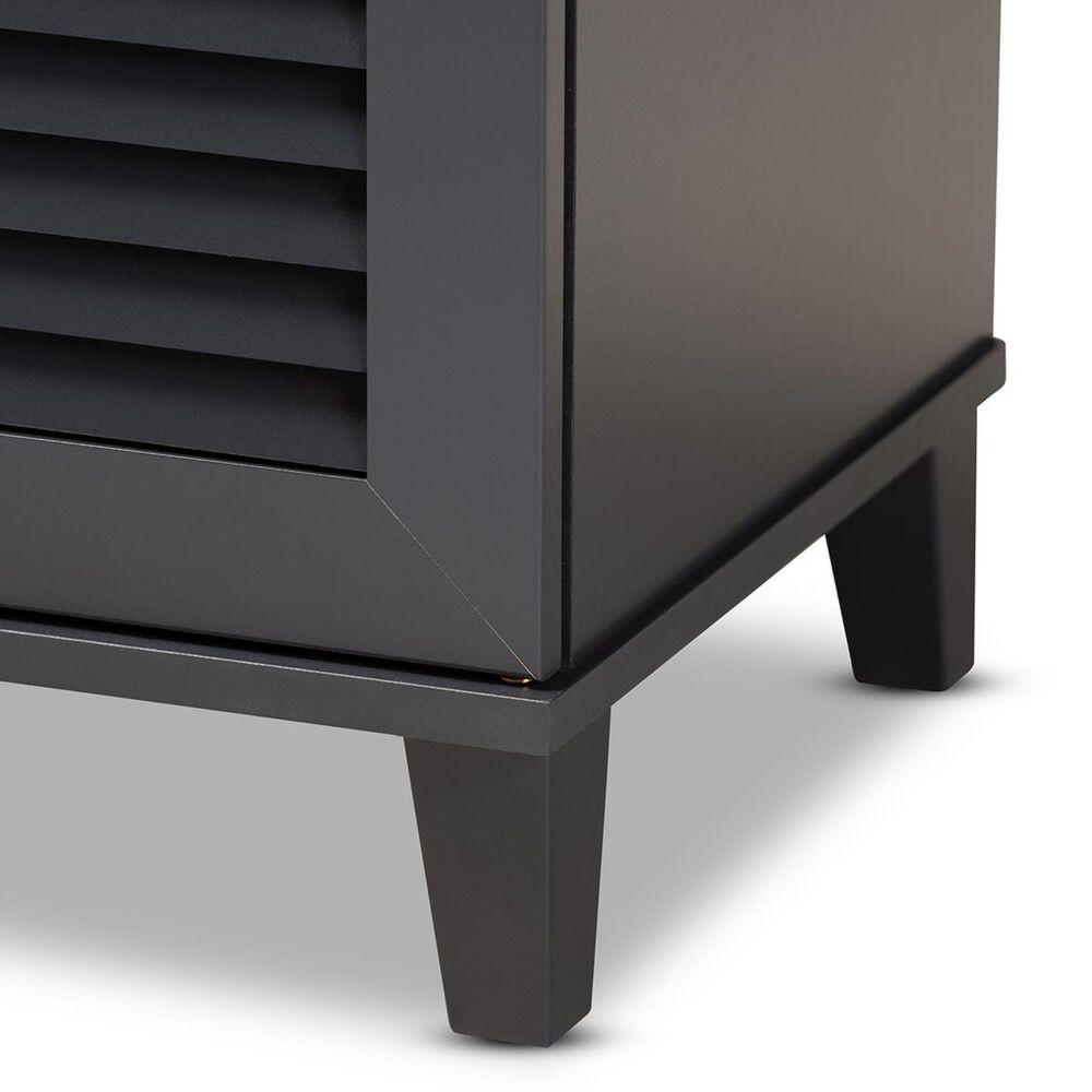Baxton Studio Coolidge 4-Shelf Shoe Storage Cabinet in Dark Gray, , large