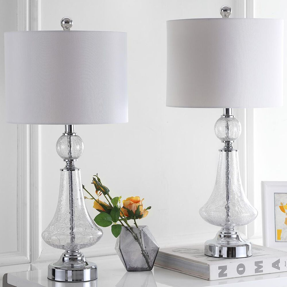 """Safavieh Mercury 25.5"""" Table Lamp with Black Shade in Clear (Set of 2), , large"""