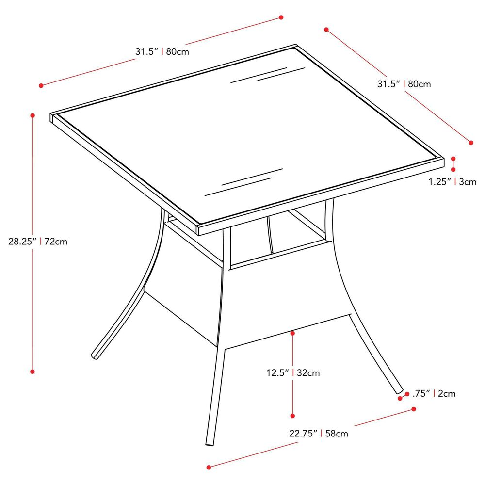 CorLiving Parksville Patio Square Dining Table in Black, , large