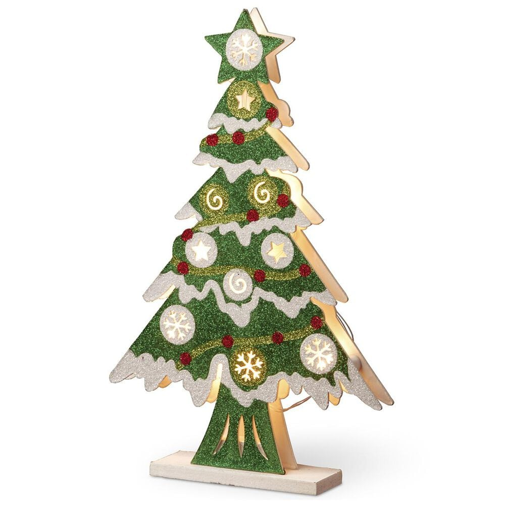 """National Tree Pre-Lit 17"""" Wooden Christmas Tree, , large"""