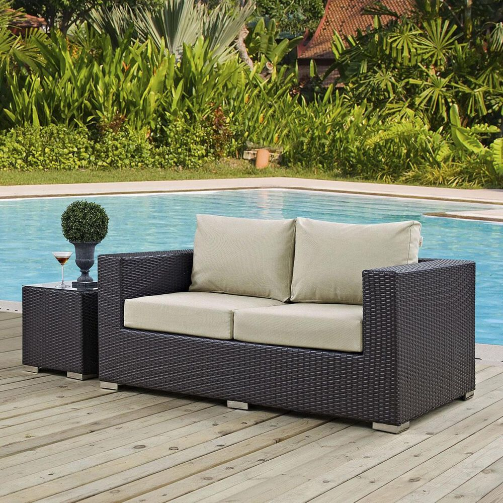 Modway Convene Outdoor Patio Loveseat in Espresso and Beige, , large