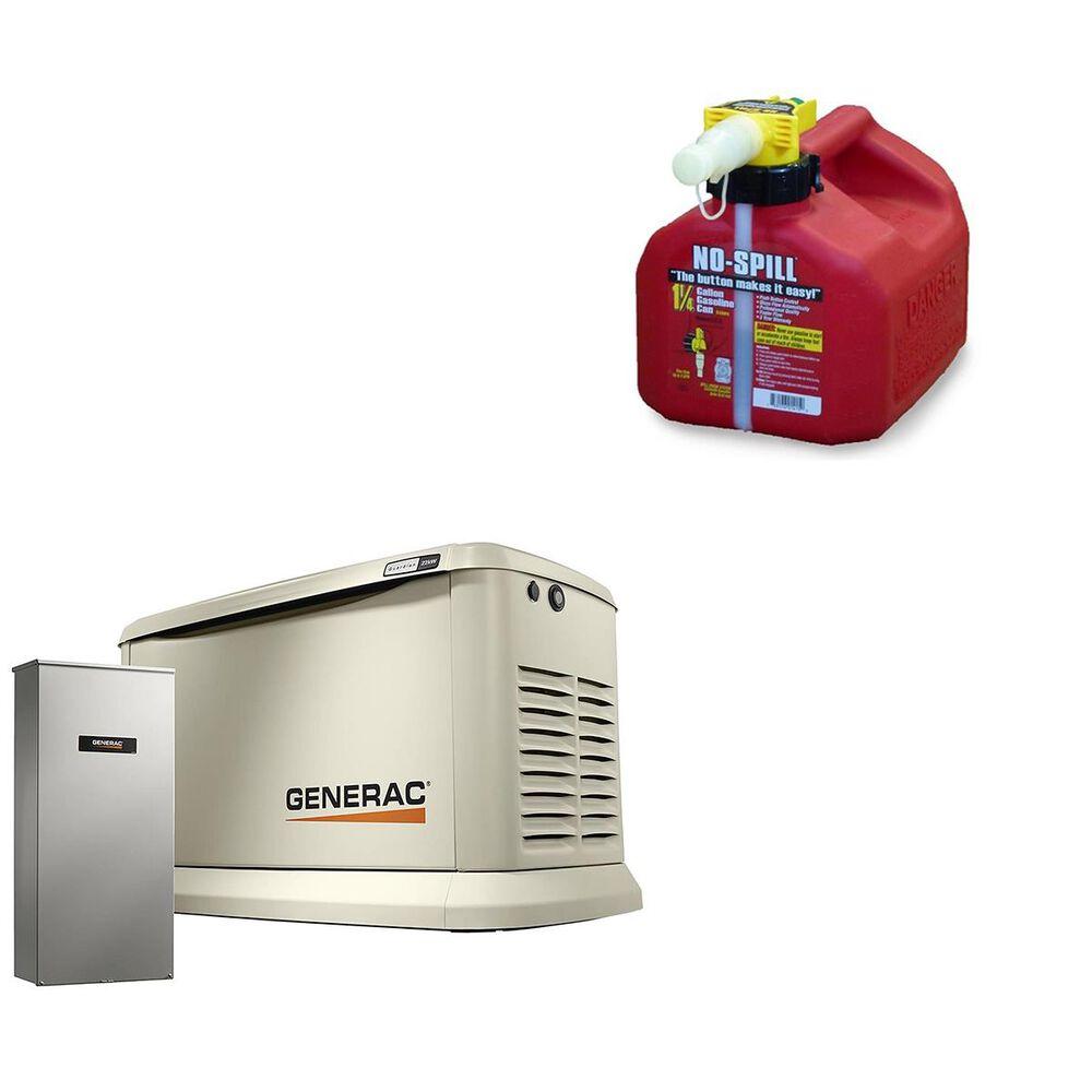 Generac 22000-Watt Home Backup Generator + 1 1/4 Gallon No Spill Gas Can, , large