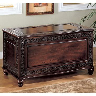 Pacific Landing Traditional Cedar Chest with Carving and Bun Feet, , large
