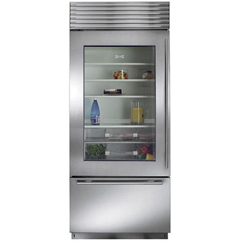 """Sub Zero 36"""" Wide Built-in Glass Door Bottom Freezer Refrigerator (Pro-Handle), , large"""