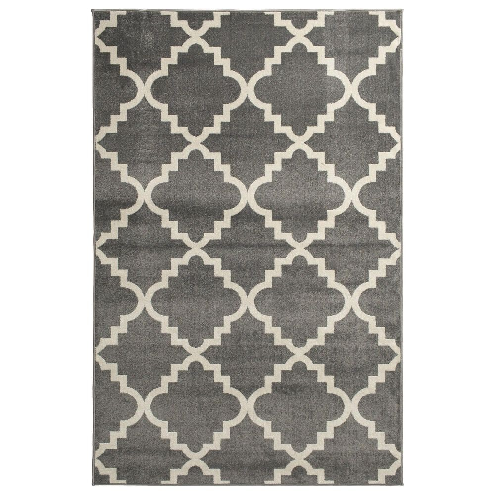 "Central Oriental Terrace Tropic Taza 9'10"" x 12'10"" Stone and Snow Area Rug, , large"