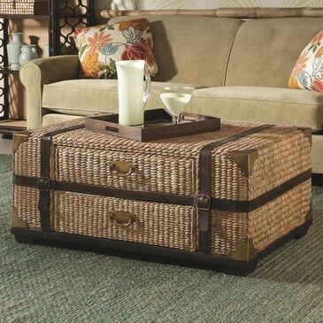 Hammary Boracay Trunk Coffee Table with Drawers in Light Wicker, , large