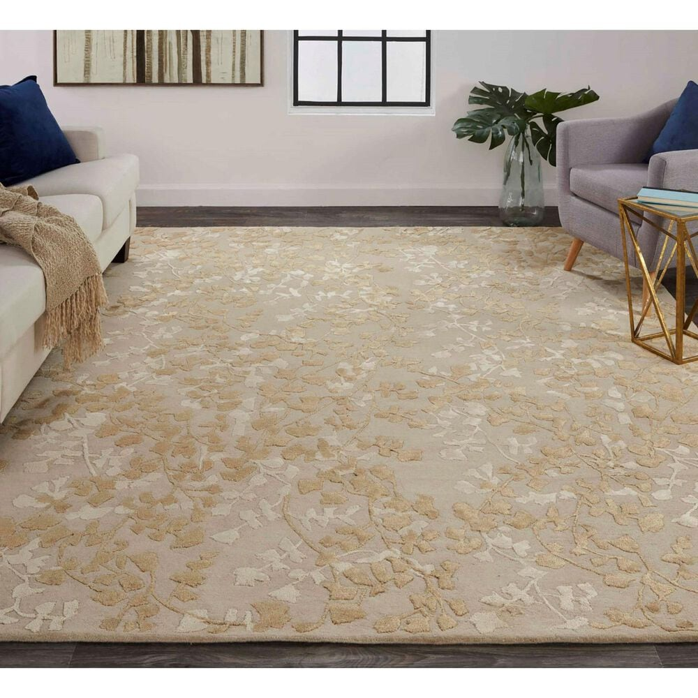 Feizy Rugs Bella 9' x 12' Beige and Gold Area Rug, , large