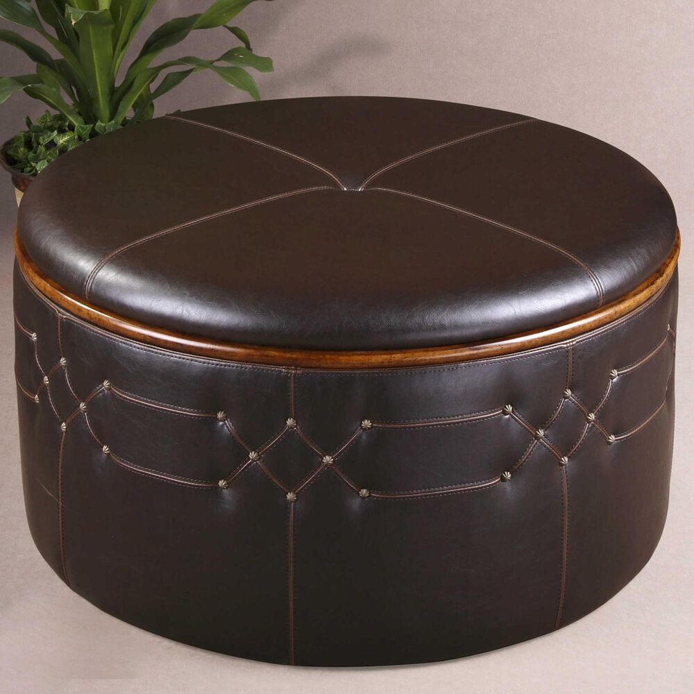Uttermost Brunner Storage Ottoman in Sable Brown Faux Leather, , large