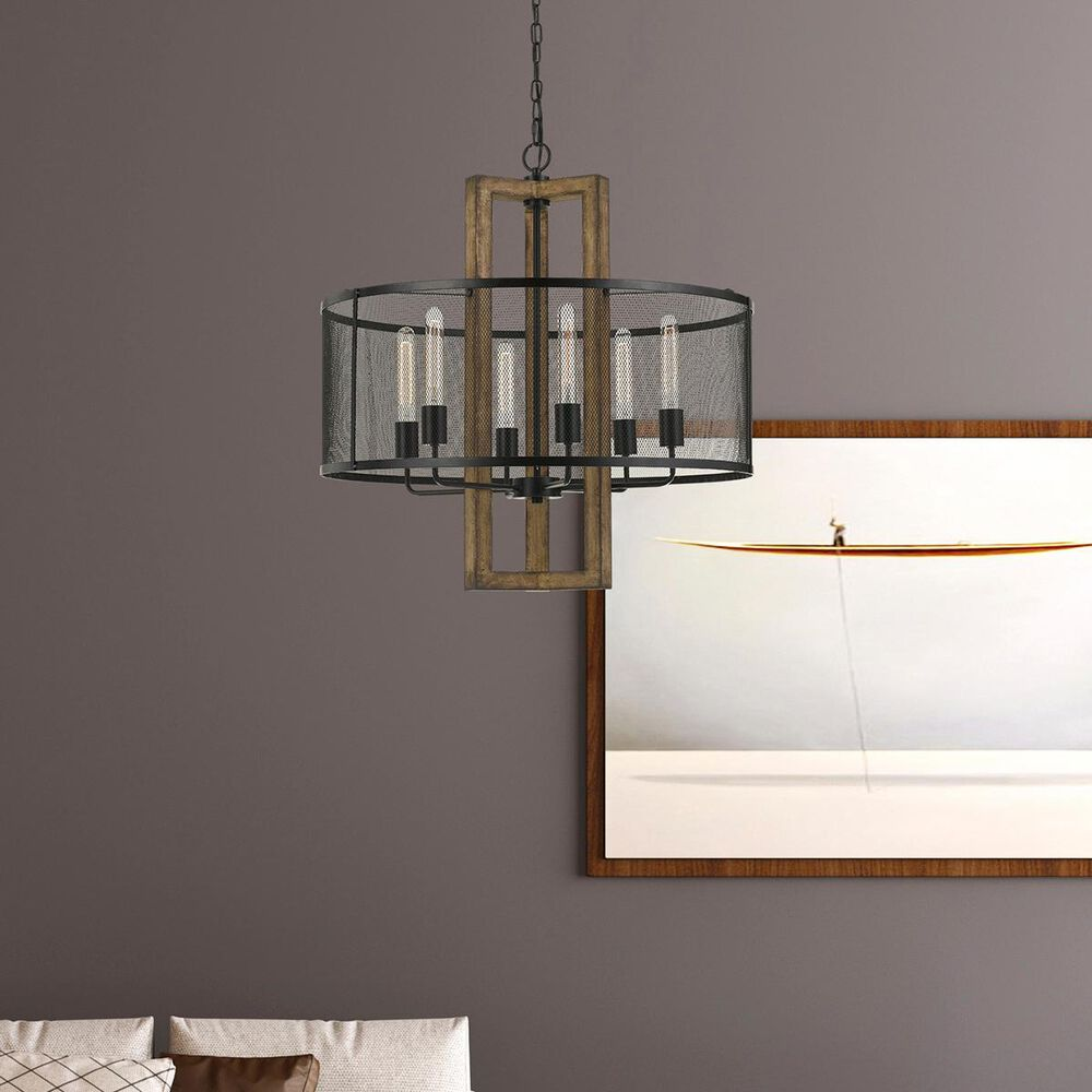 37B Monza Chandelier in Oak and Blacksmith, , large