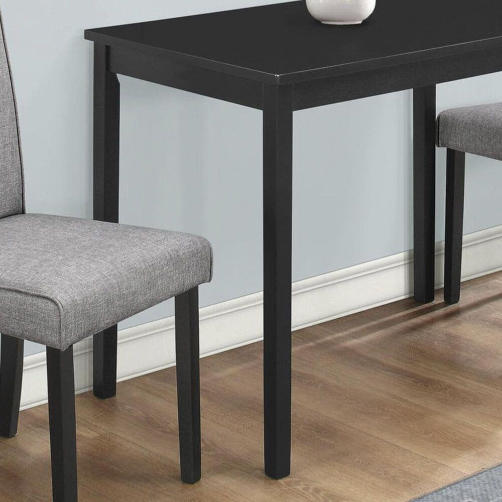 Monarch Specialties 3-Piece Dining Set in Black and Grey Linen, , large