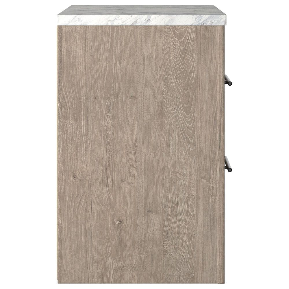Signature Design by Ashley Senniberg 2 Drawer Nightstand in Light Brown and White, , large