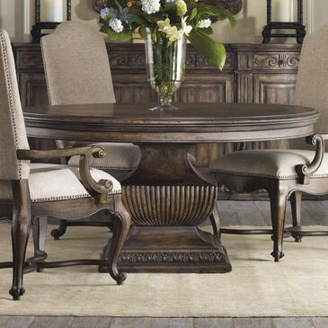 Hooker Furniture Rhapsody Round Dining Table in Rustic Walnut - Table Only, , large
