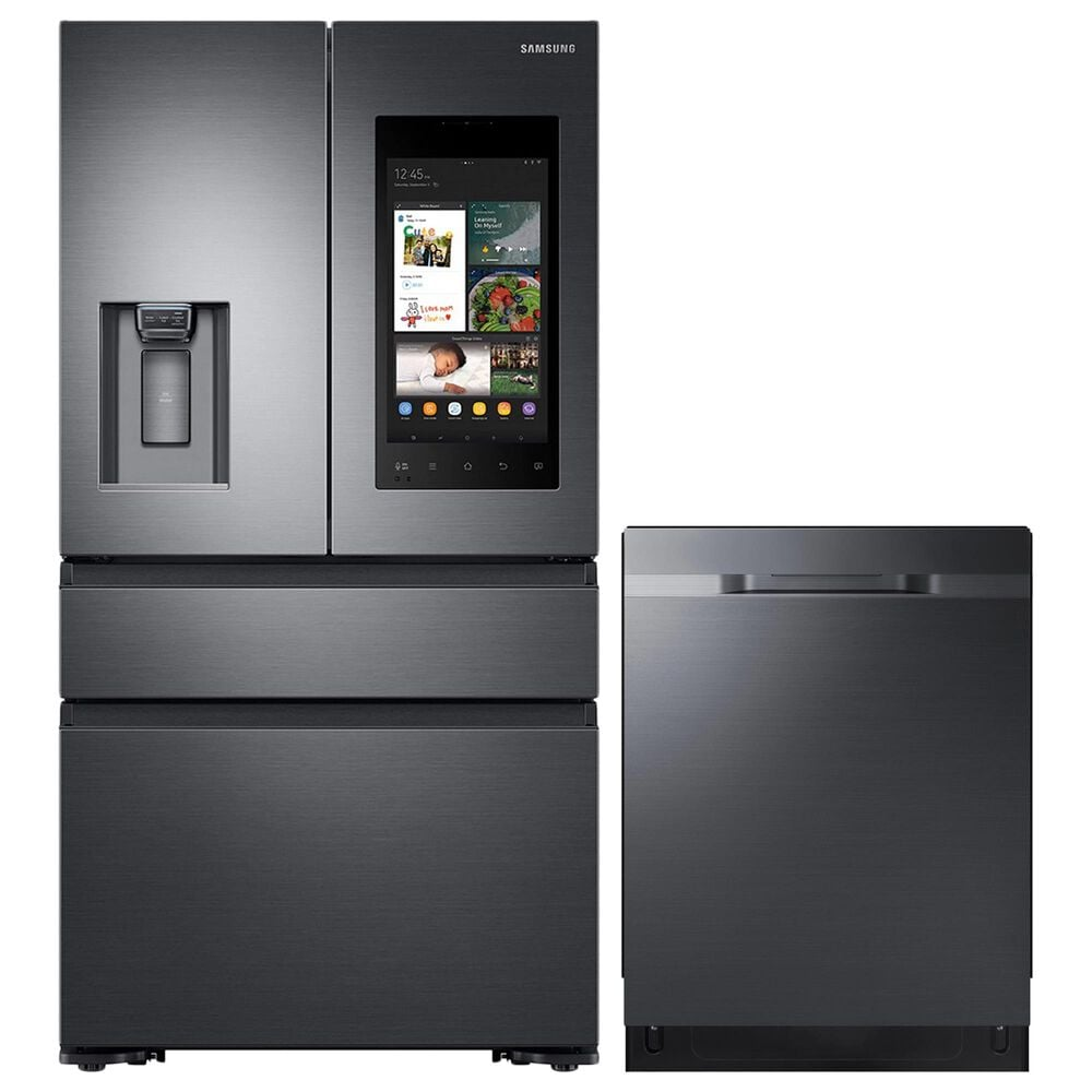 """Samsung 2-Piece Kitchen Package with 36"""" French Door Refrigerator and StormWash 48 dBA Dishwasher in Black Stainless Steel, , large"""