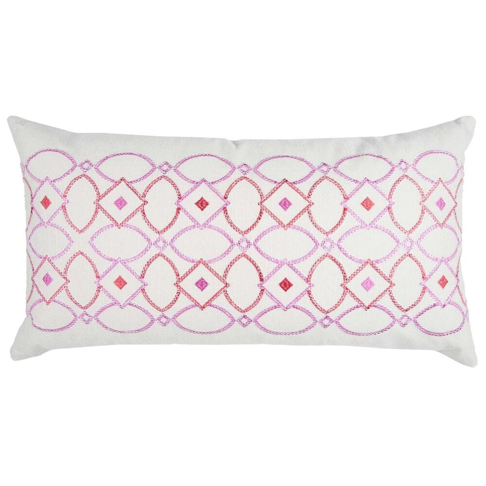 """Rizzy Home Donny Osmond 14"""" x 26"""" Pillow Cover in Pink and White, , large"""