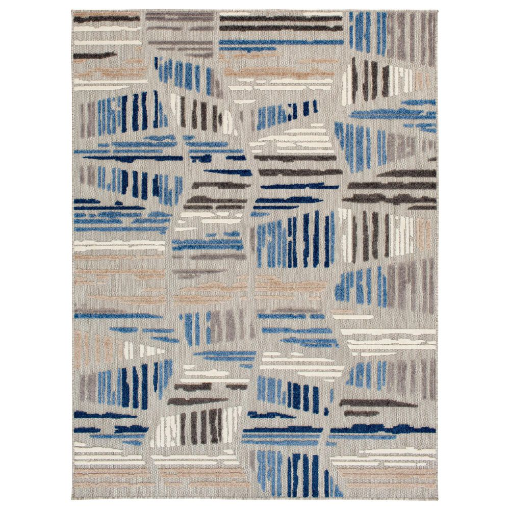 Central Oriental Fontana Hadrian 1652.61 5' x 7' Gray and Blue Area Rug, , large
