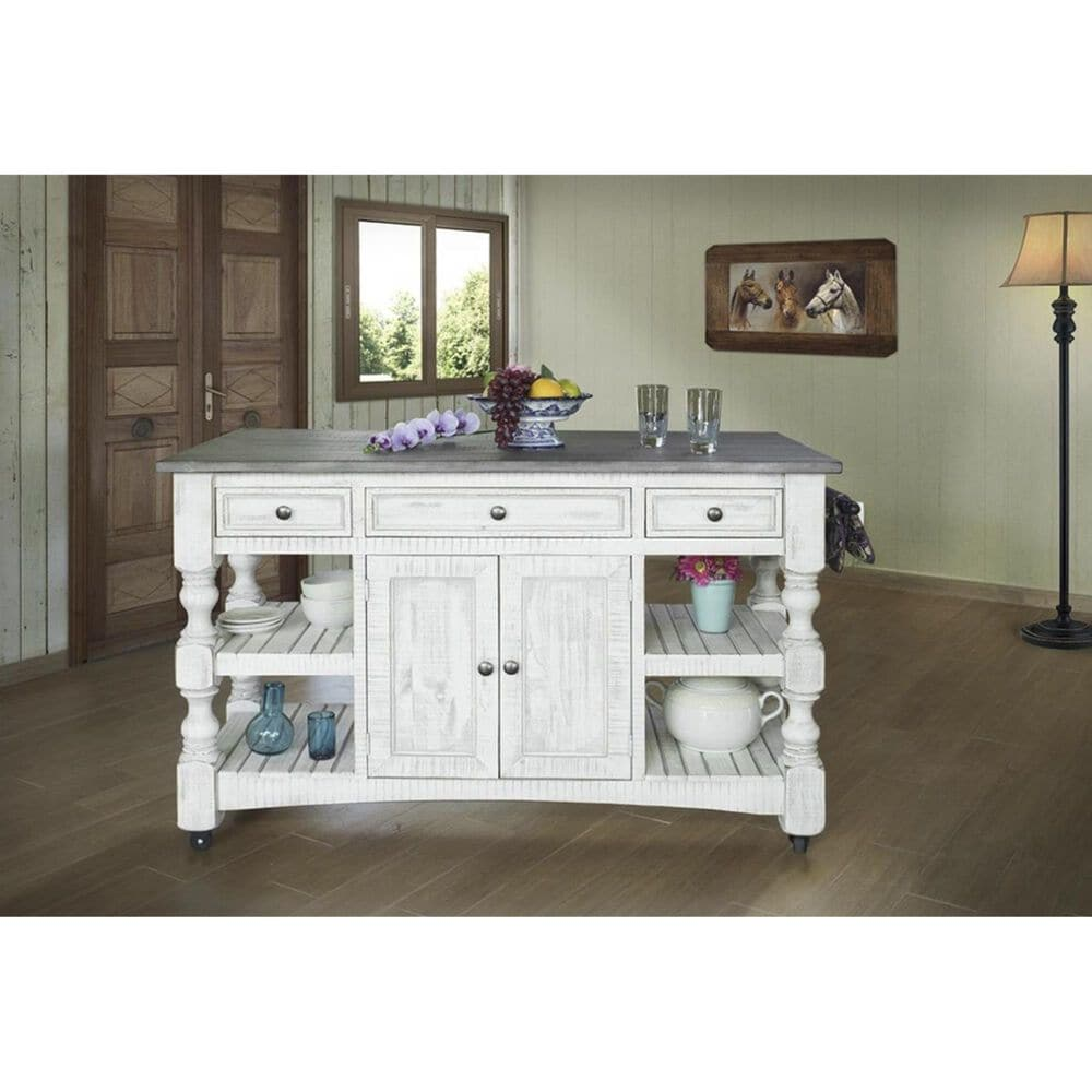 Fallridge Stone Kitchen Island in Off White Antiqued and Gray, , large