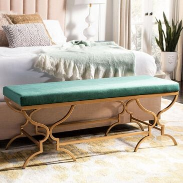 Safavieh Juliet Rectangular Bench in Emerald and Gold, , large