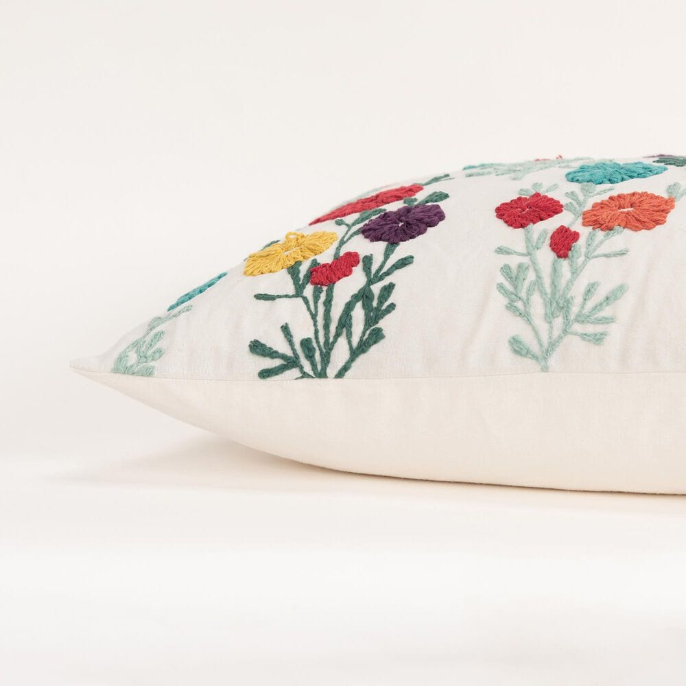 """Rizzy Home Floral 14"""" x 26"""" Pillow Cover in Natural and Multicolored , , large"""