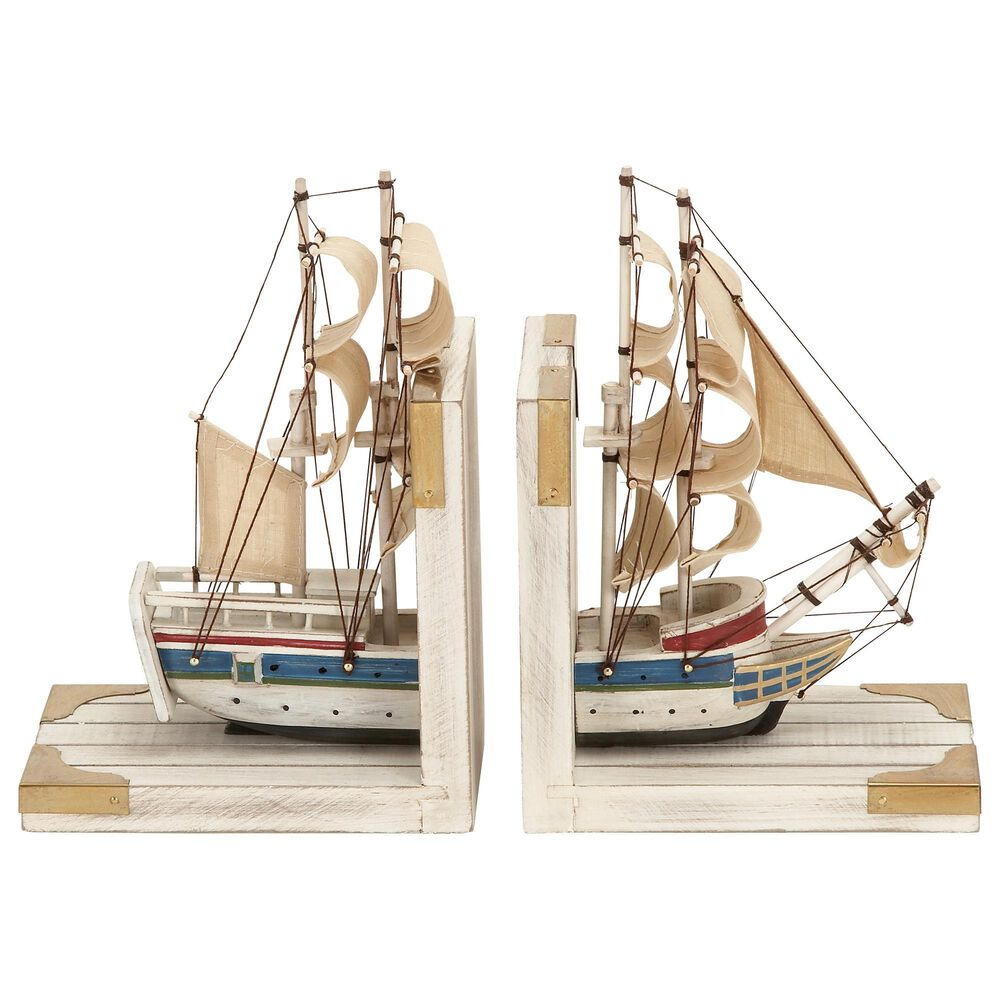 Maple and Jade Coastal Wood Bookends in White (Set of 2), , large