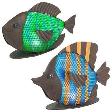 """The Gerson Company 11"""" Solar Meadow Fish in Brown, Blue and Green, , large"""