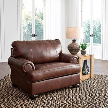 Signature Design by Ashley Bearmerton Leather Chair in Vintage Brown, , large