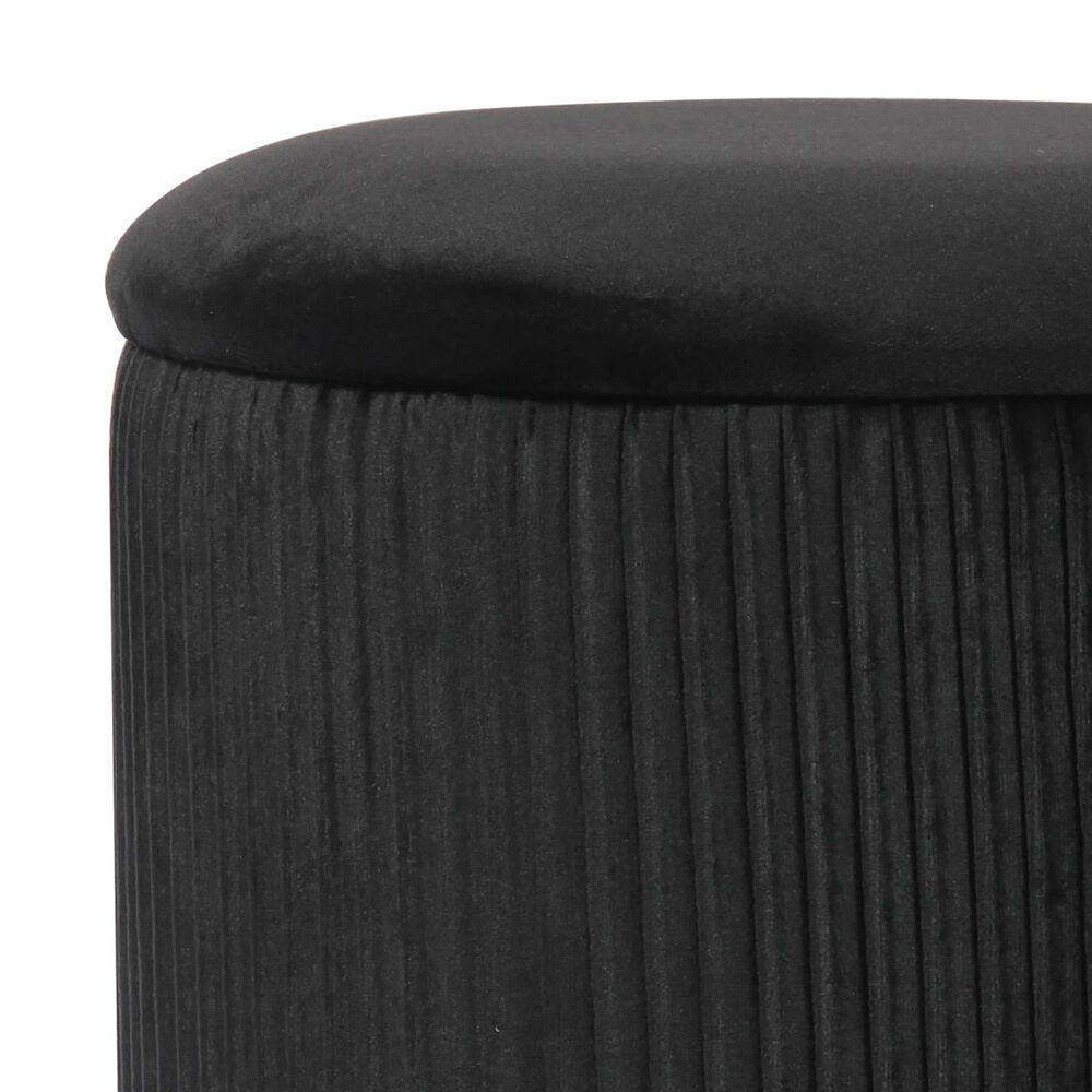 Tov Furniture Zoe Storage Ottoman in Black Velvet, , large