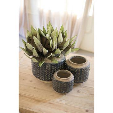 Kalalou Ceramic Pots in Dark Blue (Set of 3), , large