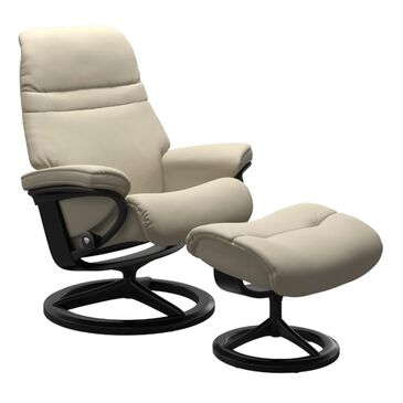 Ekornes Sunrise Large Chair and Ottoman in Paloma Grey, , large