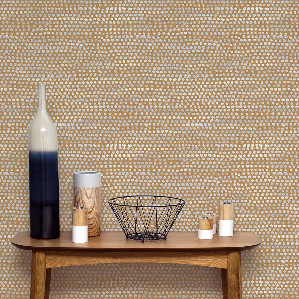 Tempaper Moire Dots Toasted Turmeric Peel and Stick Wallpaper, , large