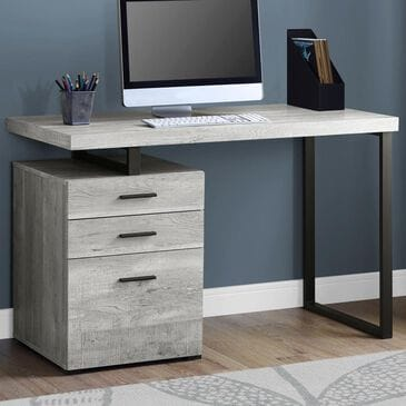 "Monarch Specialties 48"" Computer Desk in Grey Reclaimed Wood and Black, , large"