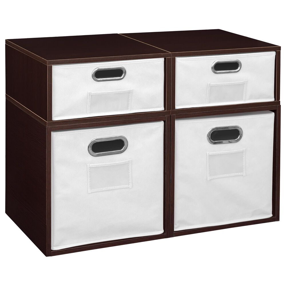 Regency Global Sourcing Niche Cubo 4-Piece Storage Set with Half Drawers in Truffle/White, , large