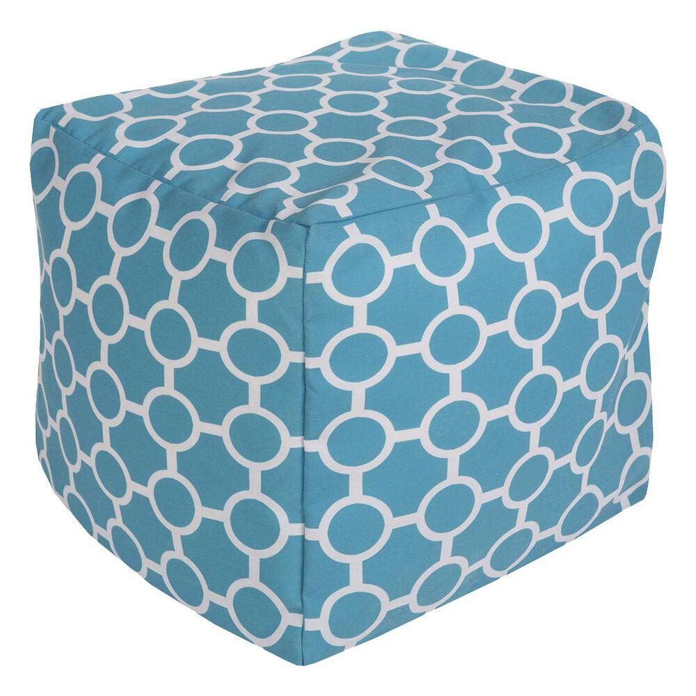 Surya Inc Surya Poufs Cube Pouf in Aqua and Light Gray, , large