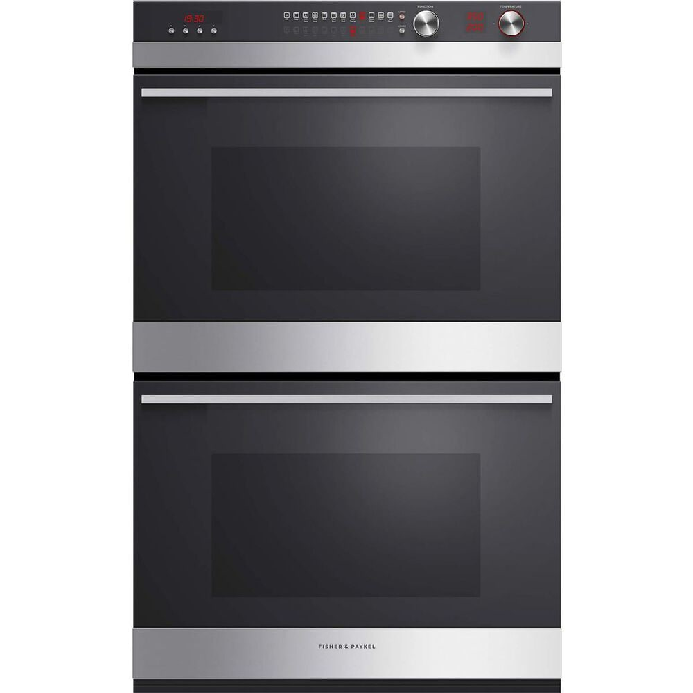 Fisher and Paykel 30 Inch Built-in Double Wall Oven in Brushed Stainless Steel with Black Glass , , large