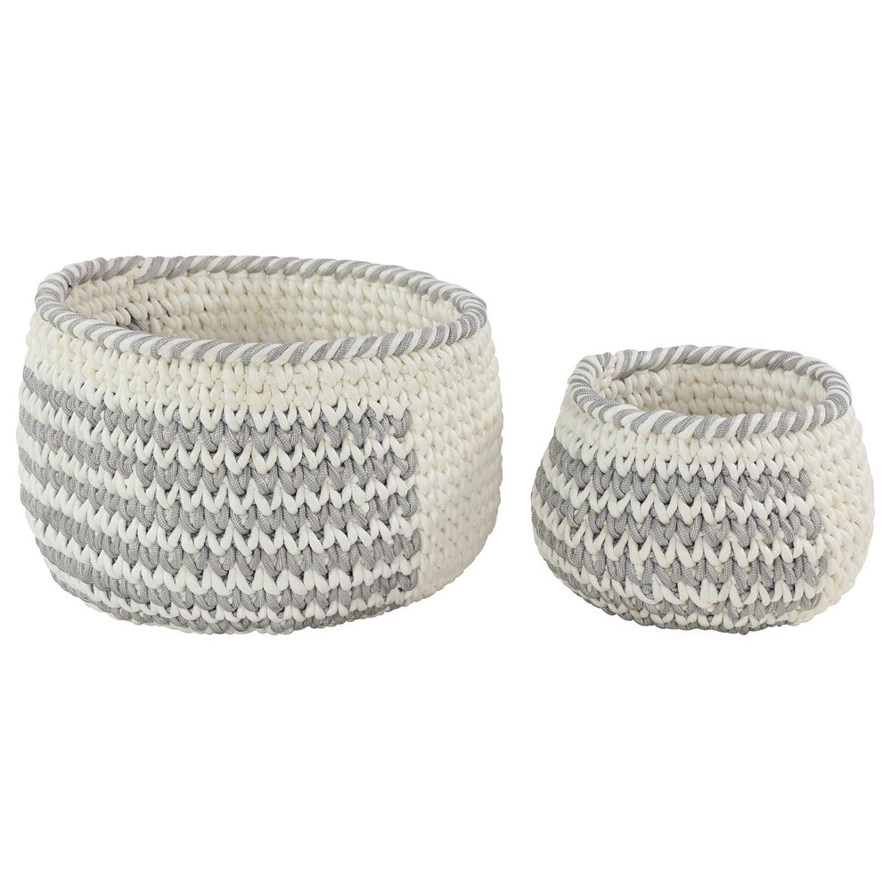 Maple and Jade Bohemian Fabric Woven Storage Basket in Grey Set of 2, , large