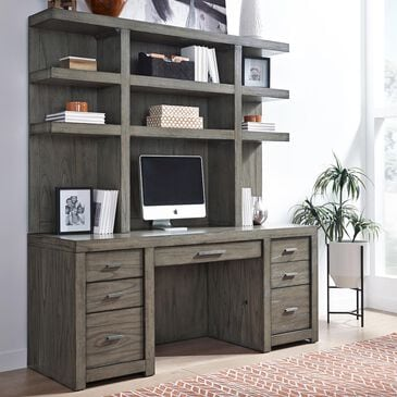 Riva Ridge Modern Loft Credenza Desk and Hutch in Greystone, , large