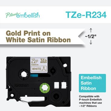 Brother P-touch Embellish Gold Print on White Satin Ribbon 12mm, , large