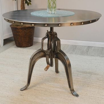 Mundra Adjustable Crank Table in Antique Nickle, , large