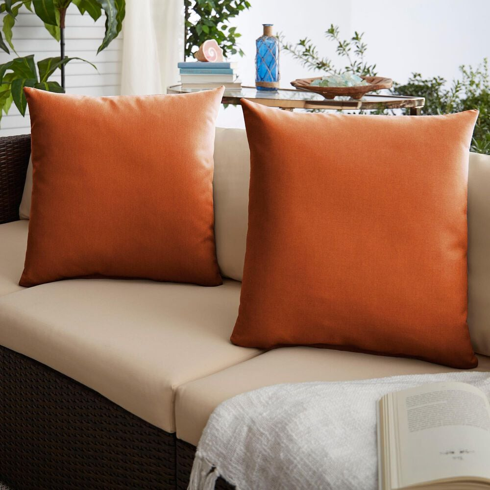 "Sorra Home Sunbrella 18"" Pillow in Canvas Rust (Set of 2), , large"