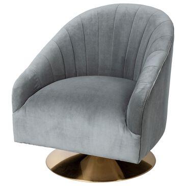 Mercana James II Swivel Barrel Chair in Grey Blue Velvet, , large