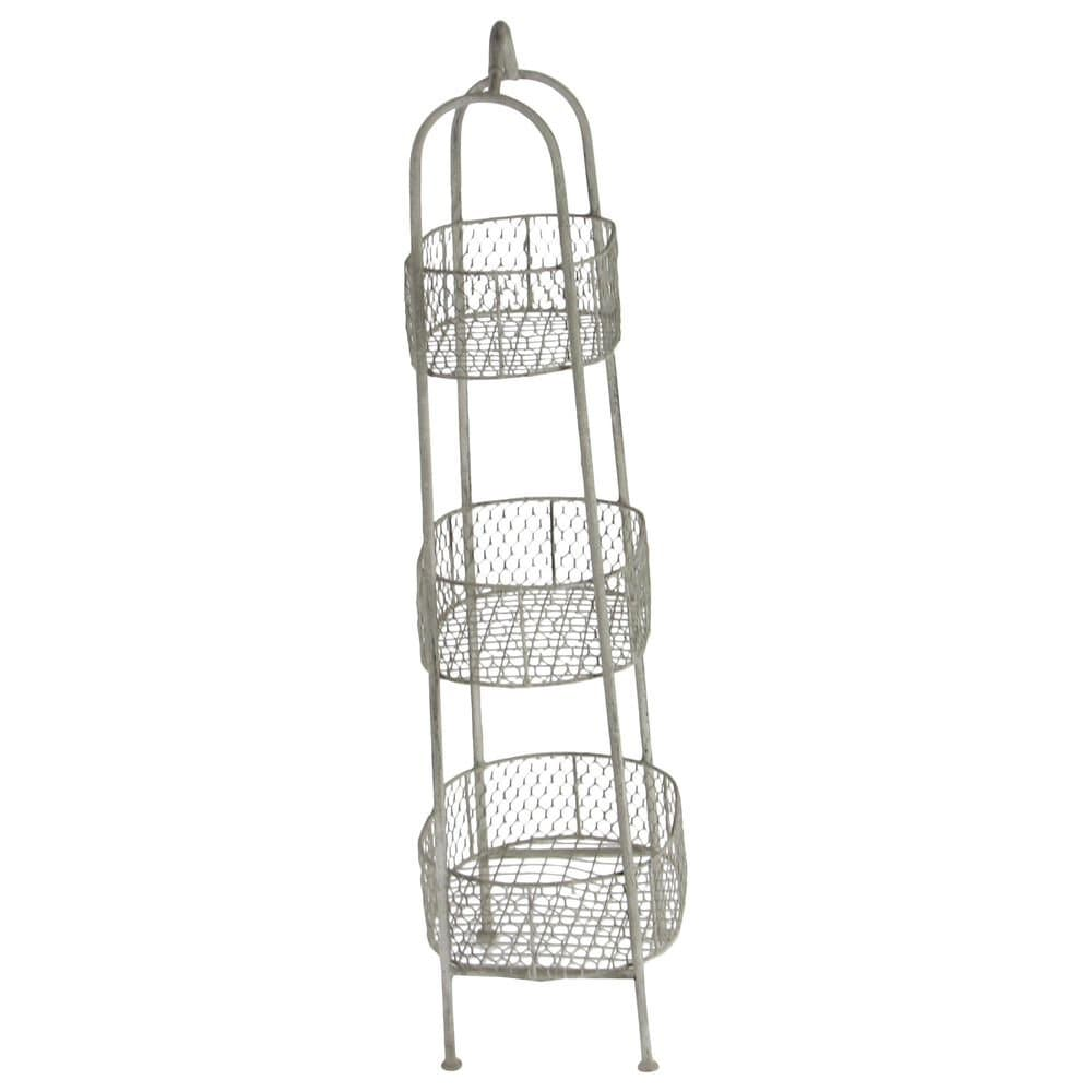 Maple and Jade 3-Tiered Basket Stand in White, , large