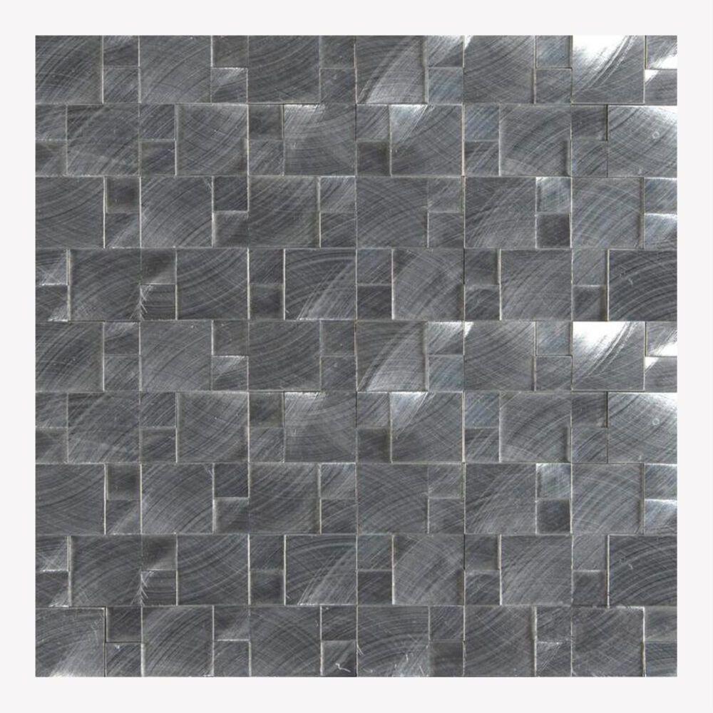"MS International Silver Aluminum 12"" x 12"" Metal Mosaic Sheet, , large"